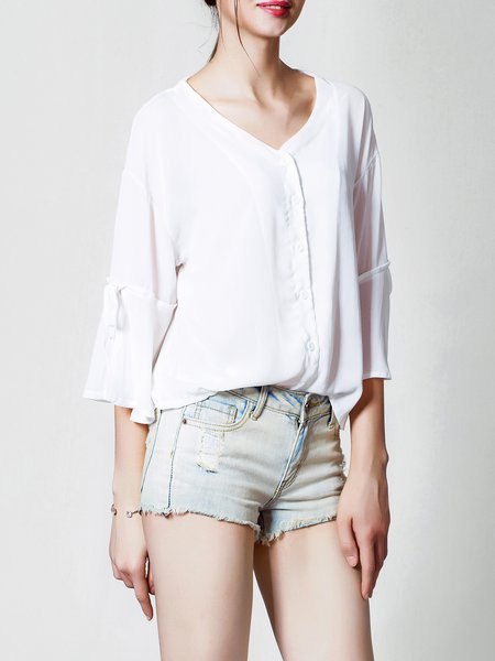 White Frill Sleeve Plain V Neck See-through Look Blouse