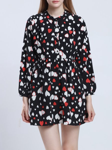 Long Sleeve Girly Stand Collar H-line Printed Shirt Dress