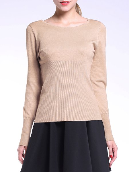 Knitted Casual Long Sleeve Plain Sweater