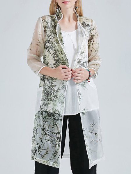 Stand Collar Vintage 3/4 Sleeve Floral Print Pockets Silk Linen Coat