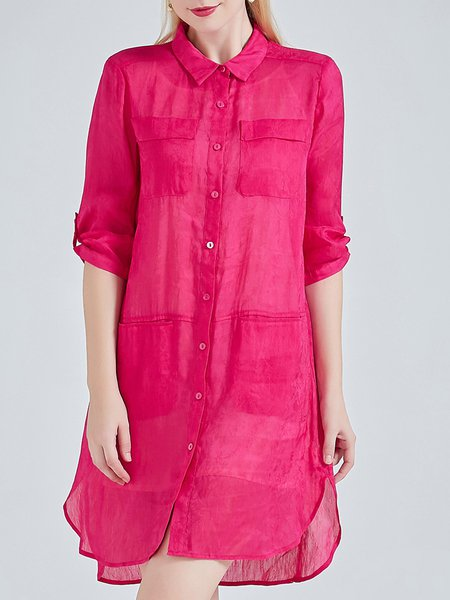 Fuchsia Shirt Collar Pockets Half Sleeve Plain Casual Silk Linen Tunic