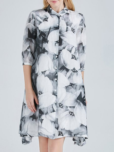 Gray Silk Floral Print Vintage A-line Silk-blend Midi Dress