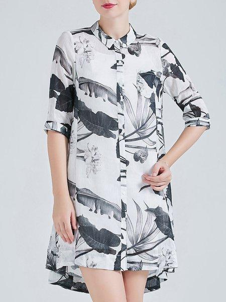 Gray H-line Silk Linen Vintage Shirt Collar Tunic