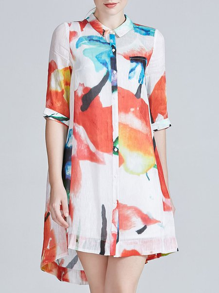 Multicolor Vintage Printed Silk Linen Tunic
