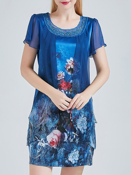 Blue Short Sleeve Stand Collar H-line Floral Print Silk Mini Dress
