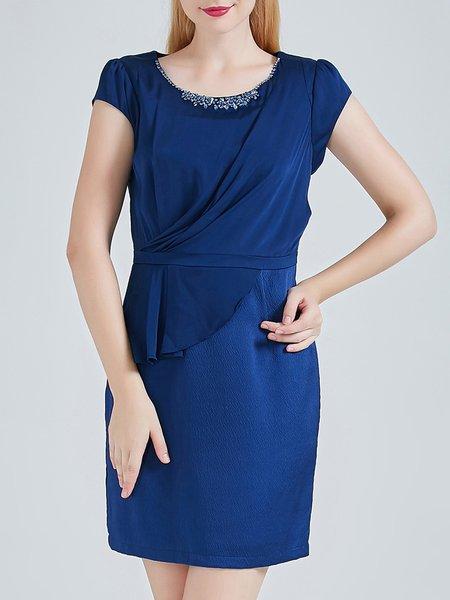 Elegant A-line Short Sleeve Ruffled Beaded Plain Silk Mini Dress