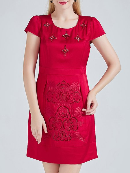 Red Plain Beaded Short Sleeve Crew Neck Pierced Silk Mini Dress