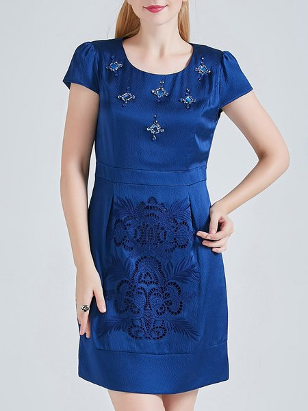 Blue Short Sleeve Crew Neck Silk Pierced Plain Mini Dress