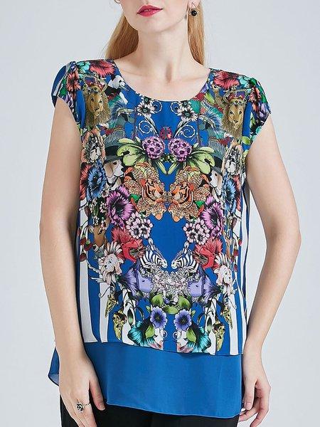 Vintage Silk Floral Printed Short Sleeve H-line Silk Tunic
