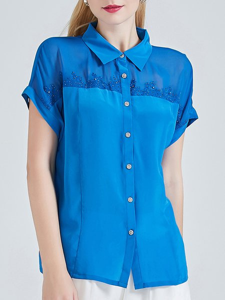 Blue H-line Vintage Embroidered Silk Blouse