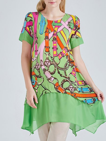 Green Silk Short Sleeve Crew Neck Printed Asymmetric Tunic