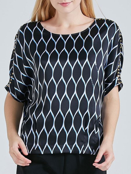 Black H-line Printed Silk Half Sleeve Blouse