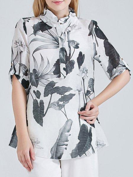 Half Sleeve Vintage H-line Printed Silk Linen Blouse