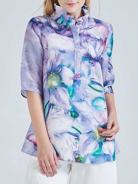 Purple Printed Linen Half Sleeve Stand Collar Blouse