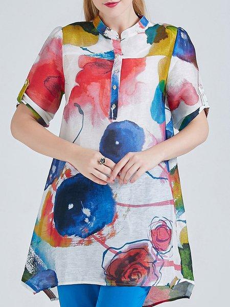 A-line Vintage Half Sleeve Printed Linen Silk Tunic