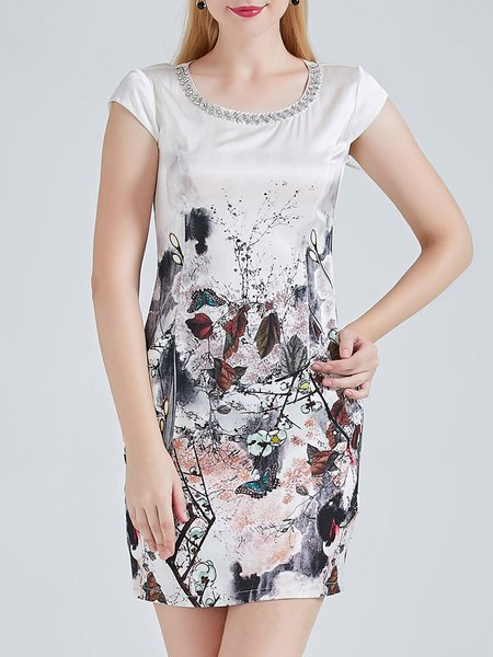 White Crew Neck Silk Sheath Elegant Silk Mini Dress