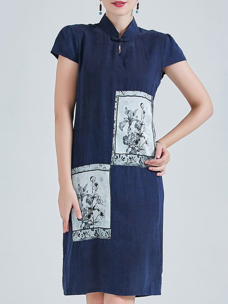 Dark Blue H-line Appliqued Vintage Silk Midi Dress