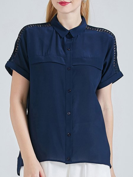 Navy Blue H-line Solid Short Sleeve Silk Blouse