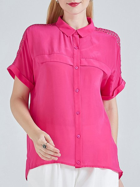 H-line Shirt Collar Short Sleeve Simple Silk Blouse