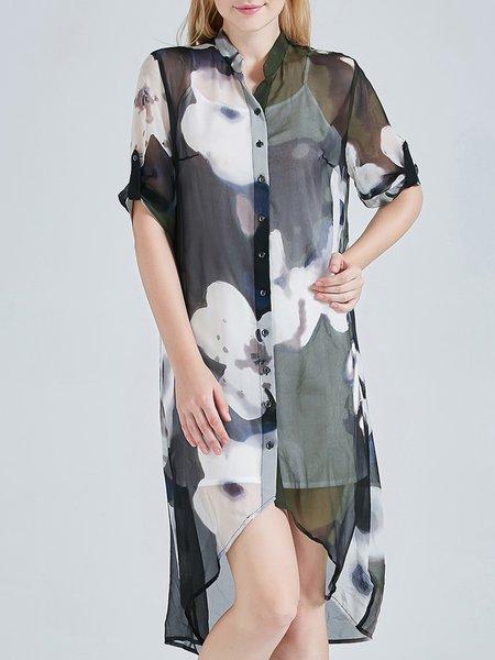 Printed Vintage Silk Half Sleeve Blouse