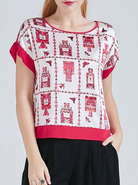 Rose Silk Casual Graphic Printed Short Sleeved Top