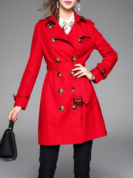 Red Lapel Cotton Buttoned Simple Coat With Belt