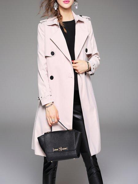 Cream Long Sleeve A-line Plain Pockets Coat