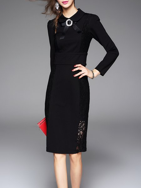 Sheath Long Sleeve Paneled Elegant Polyester Midi Dress