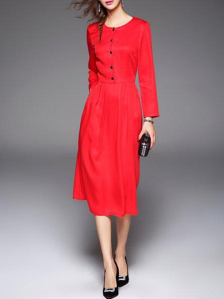 Red Long Sleeve Lyocell Simple Plain A-line Midi Dress