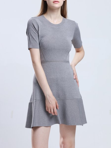 Light Gray Short Sleeve Knitted Flounce Cotton-blend Mini Dress