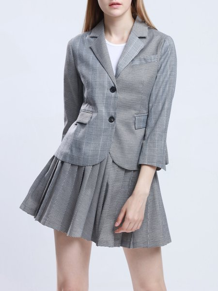 Gray Pleated Two Piece 3/4 Sleeve Suits