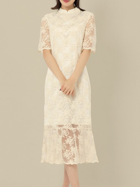 Cotton Vintage Short Sleeve Elegant Cotton Midi Dress