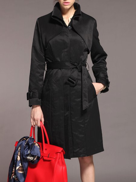 Black Pockets Plain Long Sleeve Trench Coat With Belt
