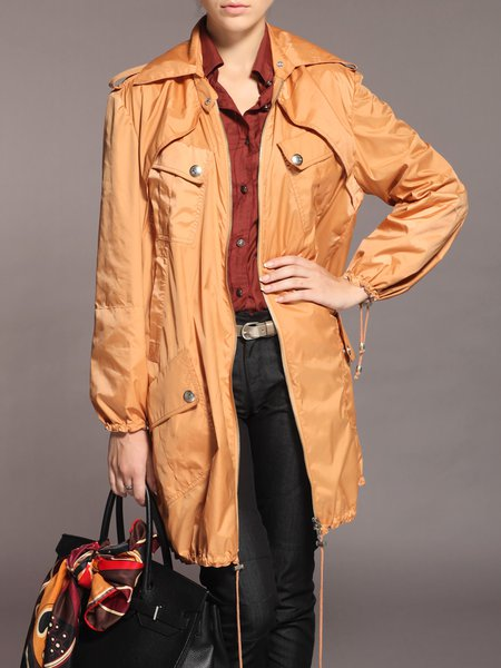 Orange Balloon Sleeve Zipper Shirt Collar Trench Coat