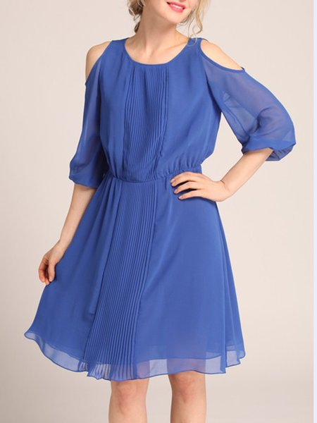 Aqua Blue A-line Girly Cold Shoulder Midi Dress