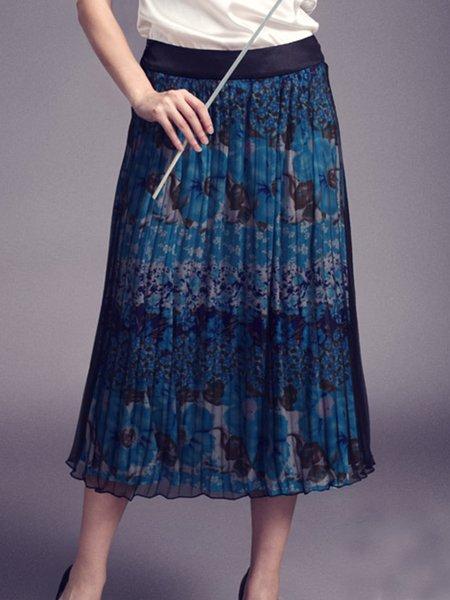Sky Blue Floral A-line Viscose Vintage Midi Skirt