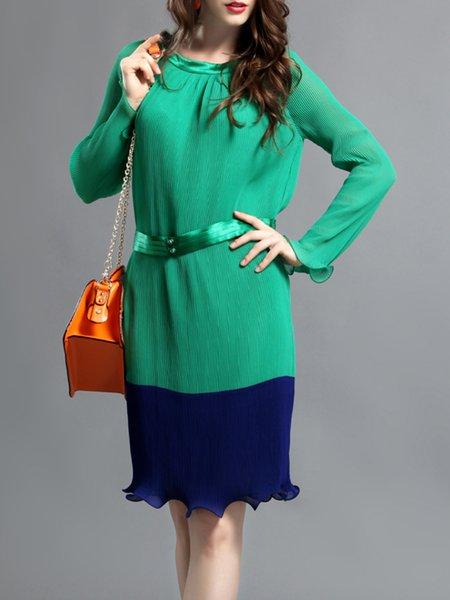 Green Long Sleeve Sheath Ruffled  Midi Dress With Belt