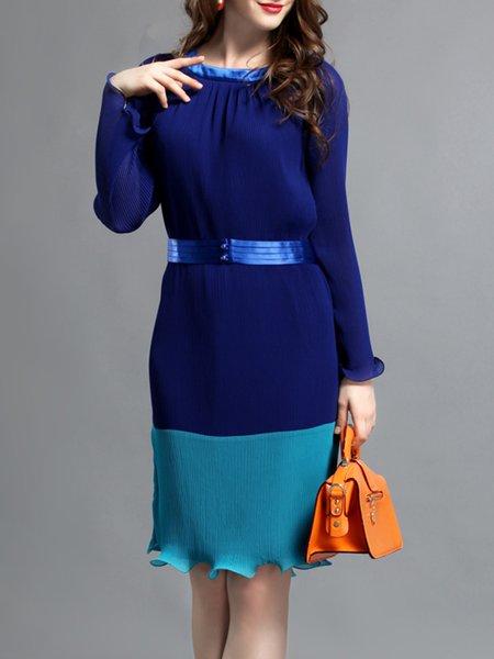 Blue Polyester Frill Sleeve Ruffled Midi Dress With Belt