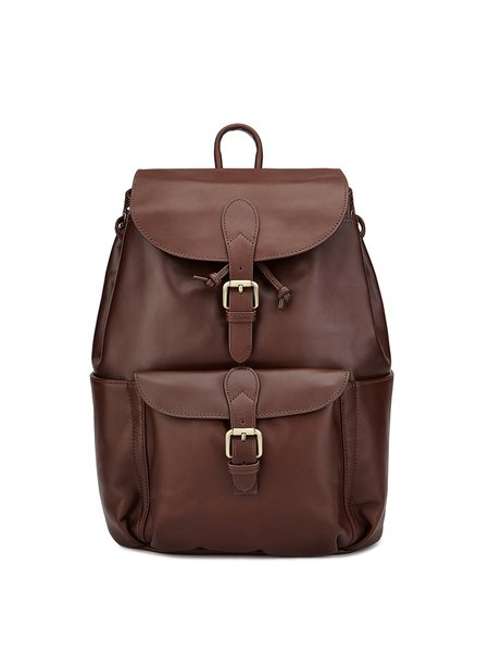 Coffee Magnetic Cowhide Leather Backpack
