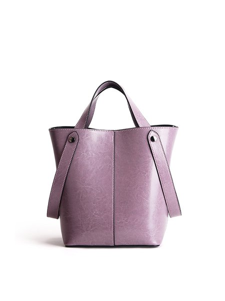 Purple Zipper Cowhide Leather Top Handle