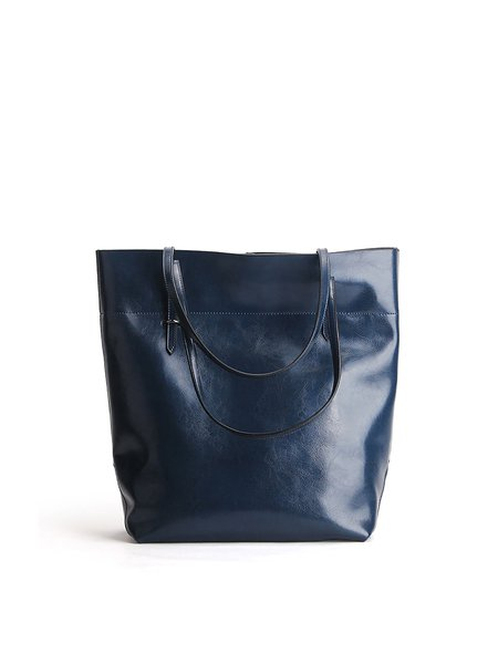 Navy Blue Zipper Simple Cowhide Leather Tote