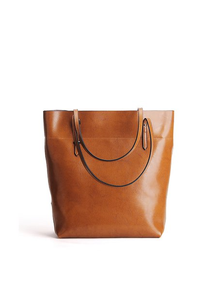 Camel Simple Zipper Cowhide Leather Tote