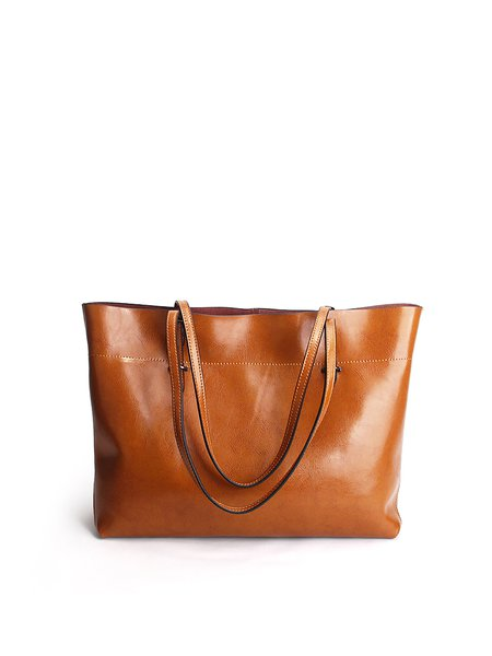 Zipper Cowhide Leather Simple Medium Tote