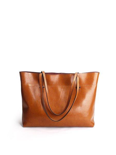 Zipper Cowhide Leather Simple Medium Tote