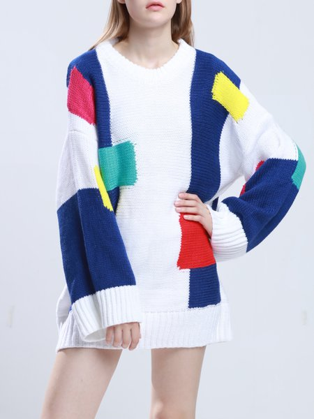 White Color-block Long Sleeve H-line Knitted Sweater