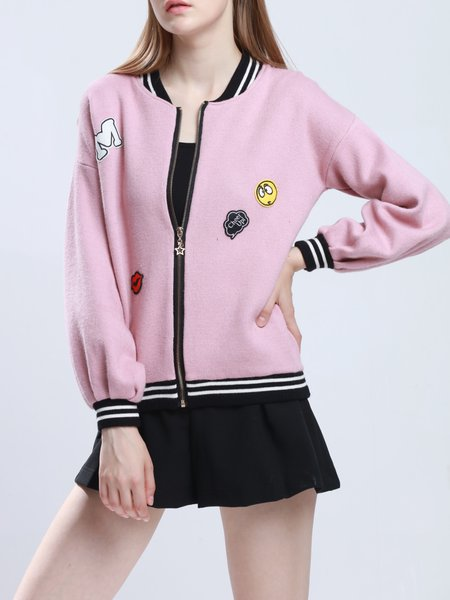 Pink Stand Collar Appliqued Casual Bomber Jacket