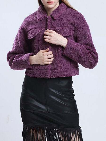 Polyester Casual Long Sleeve Plain H-line Cropped Jacket