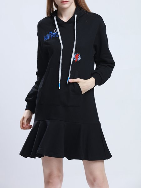 Hoodie Cotton-blend Casual H-line Long Sleeve Mini Dress