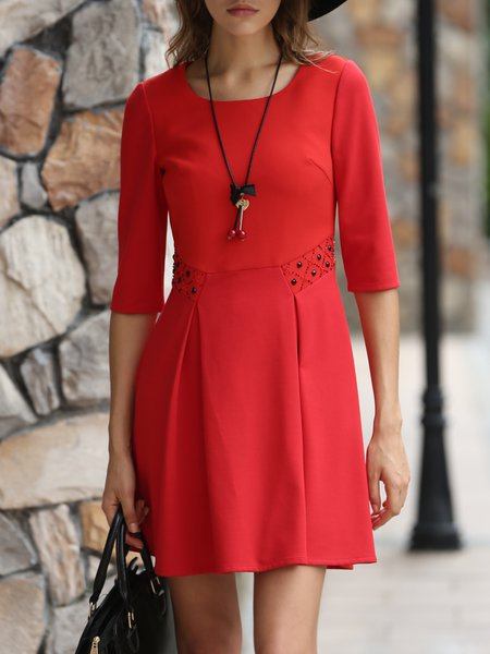 Half Sleeve Crew Neck Basic Chiffon Mini Dress