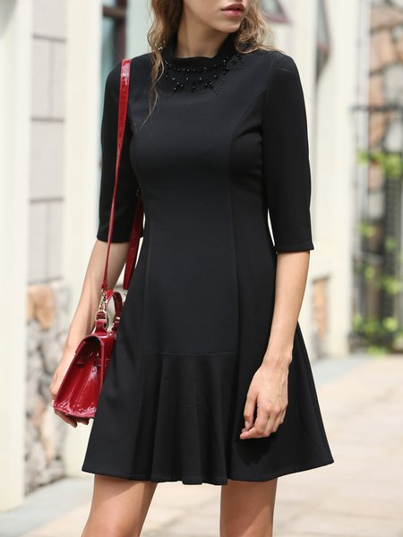 Black Chiffon Solid Casual A-line Mini Dress